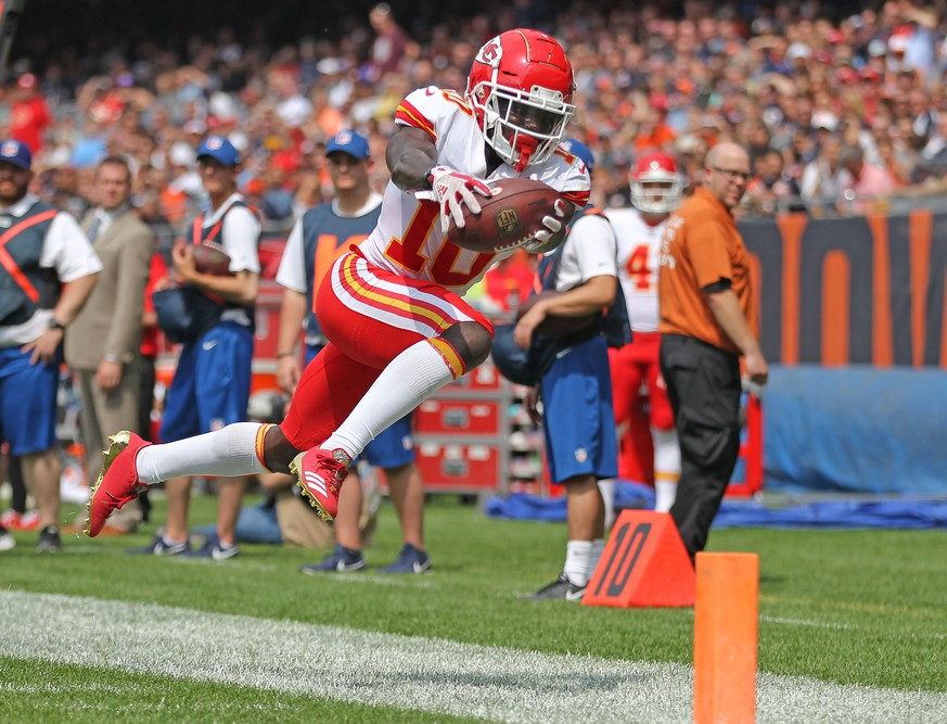 Aug 25, 2018; Chicago, IL, USA; Kansas City Chiefs wide receiver Tyreek Hill (10) dives for the end zone during the second half against the Chicago Bears at Soldier Field. Mandatory Credit: Dennis Wierzbicki-USA TODAY Sports