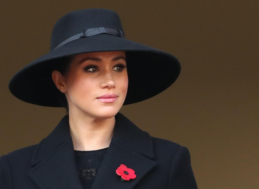LONDON, ENGLAND - NOVEMBER 10: Meghan, Duchess of Sussex   attends the annual Remembrance Sunday memorial at The Cenotaph on November 10, 2019 in London, England. The armistice ending the First World War between the Allies and Germany was signed at Compiègne, France on eleventh hour of the eleventh day of the eleventh month - 11am on the 11th November 1918.  (Photo by Chris Jackson/Getty Images)