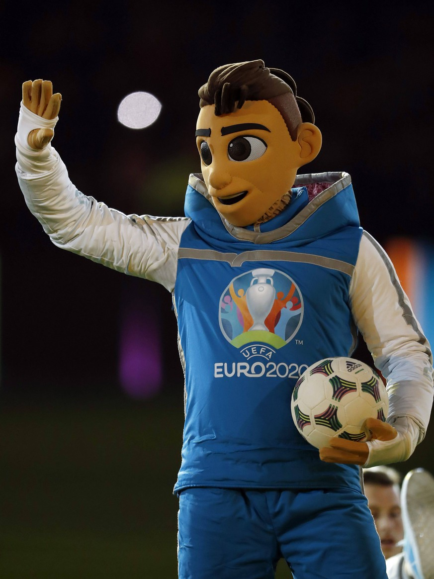 The official mascot for UEFA EURO EM Europameisterschaft Fussball 2020 Skillzy has been unveiled during the UEFA EURO 2020 qualifier group C qualifying match between The Netherlands and Germany at the Johan Cruijff Arena on March 24, 2019 in Amsterdam, The Netherlands UEFA EURO 2020 qualifier group C 2018/2019 xVIxVIxImagesx/xMauricexvanxSteenxIVx PUBLICATIONxINxGERxSUIxAUTxONLY 14014347