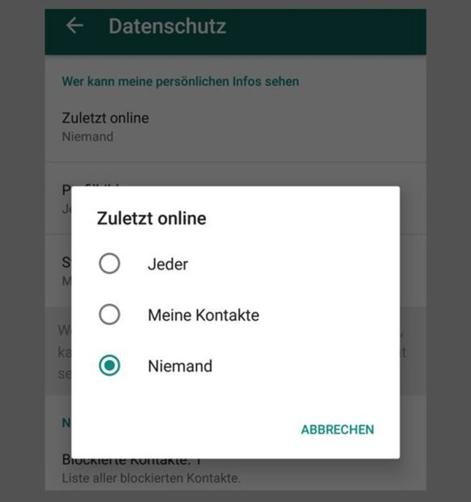 daueronline bei whatsapp iphone