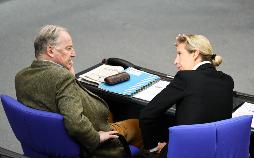 Germany's far-right Alternative for Germany (AfD) leader Alexander Gauland and AfD party member Alice Weidel attend a plenum session at the lower house of parliament, Bundestag, in Berlin, Germany, March 4, 2020.  REUTERS/Annegret Hilse
