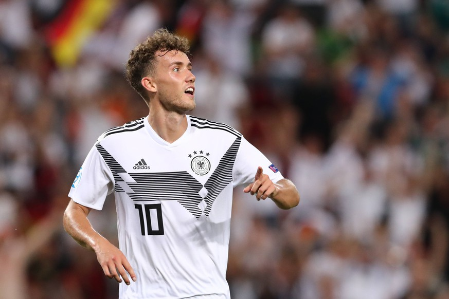 Luca Waldschmidt of Germany celebrates after scoring a goal Trieste 20-06-2019 Stadio Nereo Rocco Football UEFA Under 21 Championship Italy 2019 Group Stage - Final Tournament Group B Germany - Serbia Photo Cesare Purini / Insidefoto PUBLICATIONxNOTxINxITA CesarexPurini