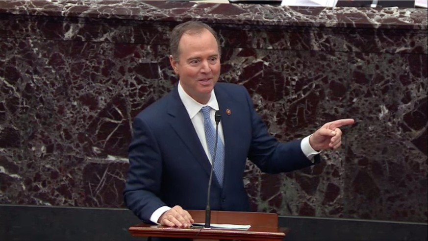 In this image from United States Senate television, US Representative Adam Schiff (Democrat of California), Chairman, US House Permanent Select Committee on Intelligence, a manager on the part of the US House, makes opening remarks concerning an amendment to US Senate Resolution 483, during the impeachment trial of US President Donald J. Trump in the US Senate in the US Capitol in Washington, DC on Tuesday, January 21, 2020. Mandatory Credit: US Senate Television via CNP | Verwendung weltweit