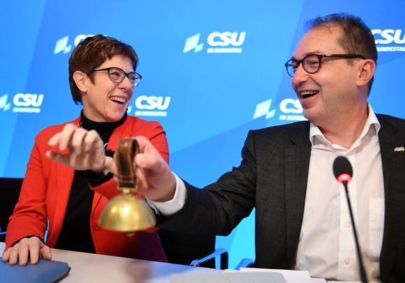Christian Democratic Union, CDU party leader Annegret Kramp-Karrenbauer and Parliamentary group leader of the CSU Alexander Dobrindt attend a Christian Social Union party meeting at
