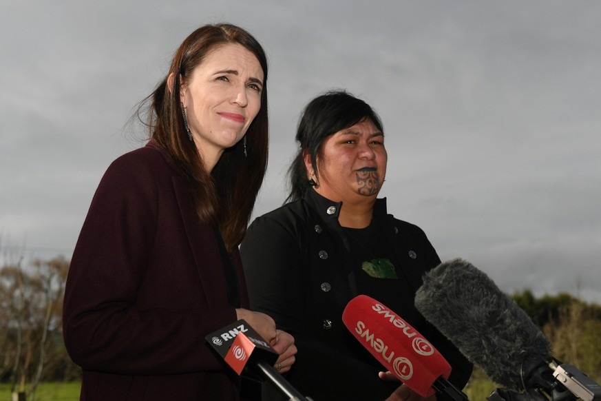 HASTINGS, NEW ZEALAND - JULY 08: Prime Minister Jacinda Ardern speaks to media with Local Government Minister Nanaia Mahuta following an announcement about upgrading drinking water infrastructure on July 08, 2020 in Hastings, New Zealand. Central Government is investing $761 million to assist Local Government upgrade under-pressure water services across the country. (Photo by Kerry Marshall/Getty Images)