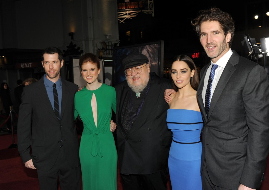 HOLLYWOOD, CA - MARCH 18:  (L-R)Creator/Executive Producer D.B Weiss, actress Rose Leslie, Co-Executive Producer and writer George R. R. Martin, actress Emilia Clarke, and Creator/Executive Producer David Benioff arrive at the premiere of HBO's