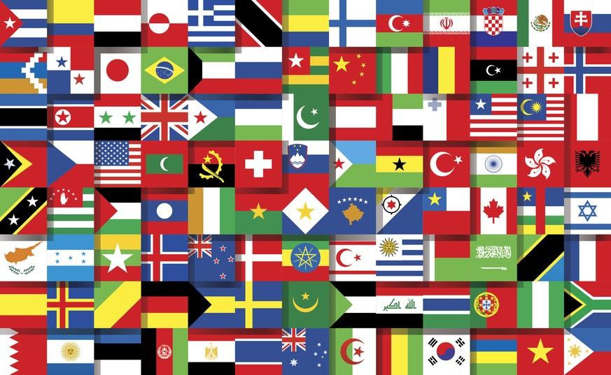 Nur 2 Flaggen Der Welt Zeigen Menschen Eine Ein Maschinengewehr