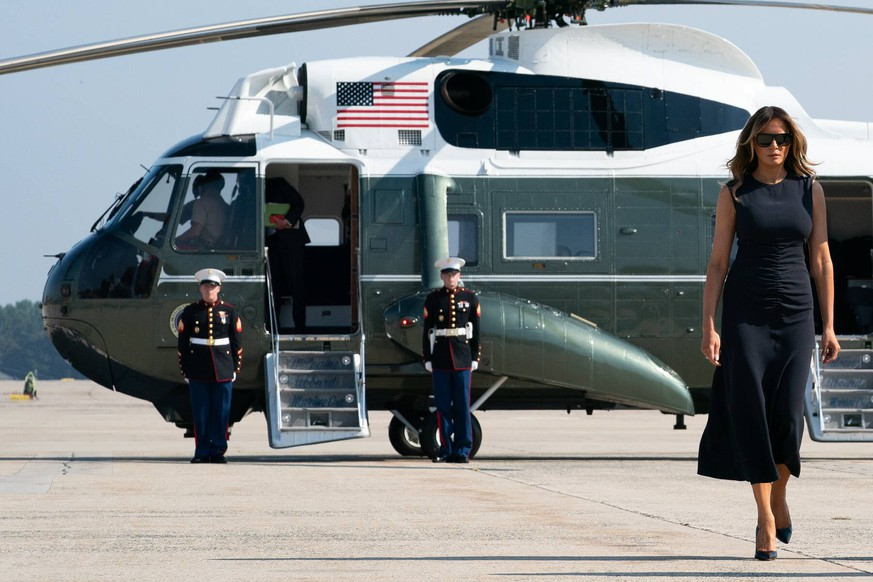 August 7, 2019, Joint Base Andrews, Maryland, USA:President First Lady MELANIA TRUMP depart Joint Base Andrews Wednesday, August 7, 2019, en route to Dayton, Ohio, and El Paso, Texas, to visit the communities impacted by last week s shootings. Joint Base Andrews USA PUBLICATIONxINxGERxSUIxAUTxONLY - ZUMAz03_ 20190807_sha_z03_821 Copyright: xWhitexHousex