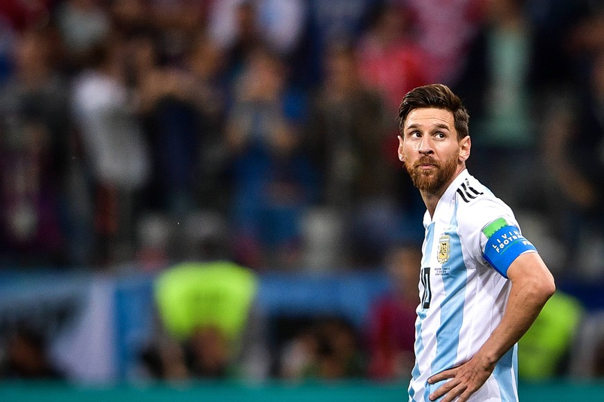 Lionel Messi of Argentina reacts after Luka Modric of Croatia scored a goal in their Group D match during the 2018 FIFA World Cup WM Weltmeisterschaft Fussball in Nizhny Novgorod, Russia, 21 June 2018. Lionel Messi s frustrating international career may be coming to an early and anti-climactic finish after Argentina s worst loss in World Cup group play in 60 years. With Diego Maradona watching from the stands, the 2014 runners-up were routed by Croatia 3-0 Thursday. The Croats are moving on to the round of 16. Messi got off only one shot in a defeat that pushed Argentina to the brink of elimination. Messi, who turns 31 on Sunday, has never won a major title with Argentina s senior national team Nationalteam despite of decade of championships with Barcelona and five player of the year awards. Messi, Argentina beaten 3-0 at World Cup, Croatia advances PUBLICATIONxINxGERxAUTxSUIxONLY 20180622_22321