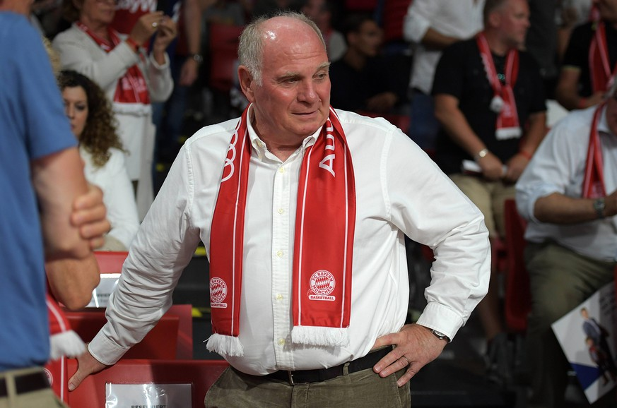 23.06.2019, xemx, Basketball BBL Playoff Finale Spiel 3, FC Bayern Basketball - Alba Berlin emspor, v.l. Praesident Uli Hoeness (FC Bayern Muenchen) (DFL/DFB REGULATIONS PROHIBIT ANY USE OF PHOTOGRAPHS as IMAGE SEQUENCES and/or QUASI-VIDEO) Muenchen *** 23 06 2019, xemx, Basketball BBL Playoff Final Match 3, FC Bayern Basketball Alba Berlin emspor, v l President Uli Hoeness FC Bayern Munich DFL DFL REGULATIONS PROHIBIT ANY USE OF PHOTOGRAPHS as IMAGE SEQUENCES and or QUASI VIDEO Munich