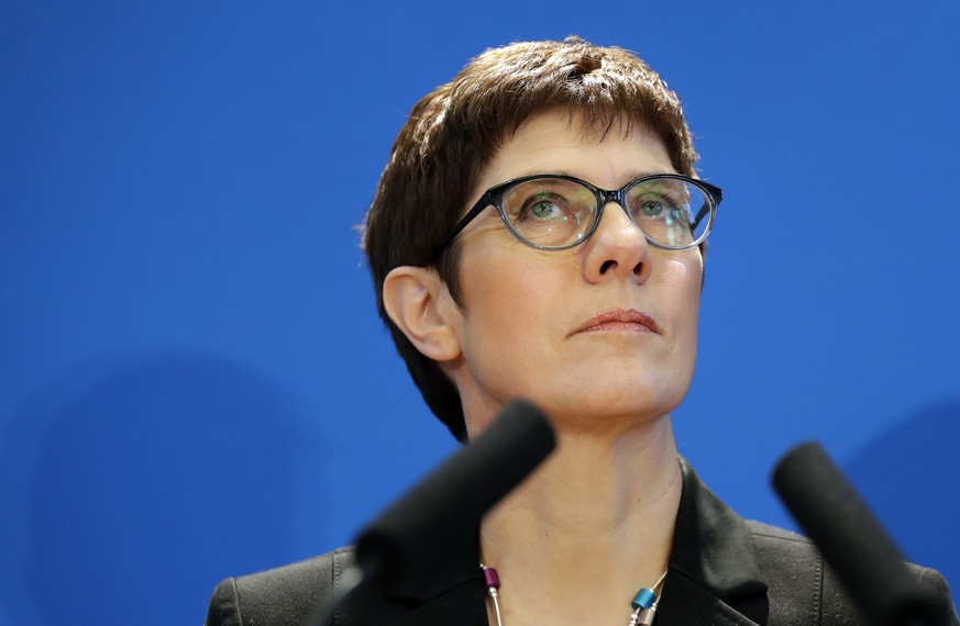 Annegret Kramp-Karrenbauer, General Secretary of the German Christian Democratic Union (CDU) party, addresses the media during a press conference in Berlin, Germany, Wednesday, Nov. 7, 2018. Kramp-Karrenbauer is one of the high-profile candidates vying to become leader of the center-right Christian Democratic Union. (AP Photo/Michael Sohn)