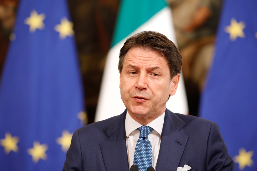 Italian Prime Minister Giuseppe Conte speaks during a meeting with European Commission President Ursula von der Leyen in Rome, Italy August 2, 2019. REUTERS/Ciro De Luca