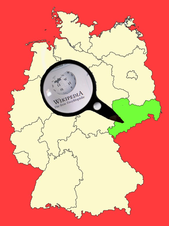 Yellow map of Germany with federal state Saxony isolated in red. Vector EPS10