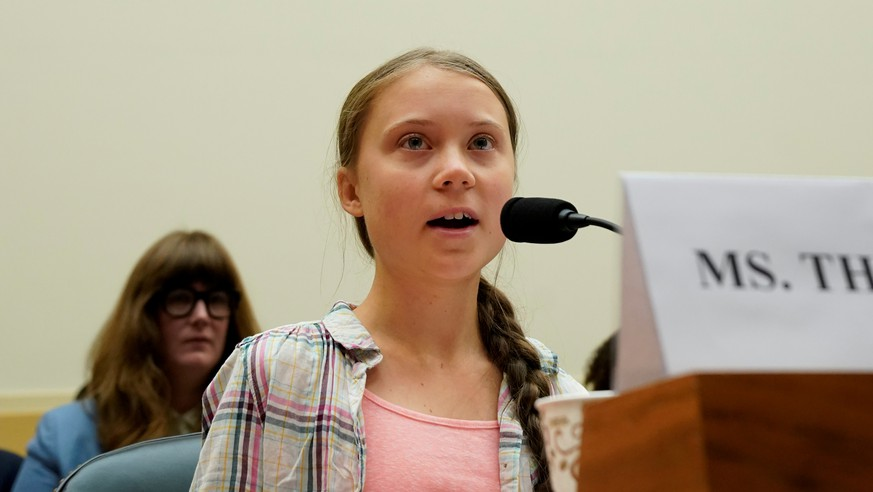 FILE PHOTO: Sixteen year-old Swedish climate activist Greta Thunberg testifies at a House Foreign Affairs subcommittee and House Select Climate Crisis Committee joint hearing on