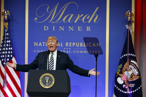 In this March 20, 2018 photo, President Donald Trump speaks to the National Republican Congressional Committee March Dinner at the National Building Museum in Washington. The tempest over President Donald Trump's congratulatory phone call to Russia's Vladimir Putin is quickly evolving into an uproar over a White House leak about the call. The leak has sparked an internal investigation and speculation over who might be the next person forced out of the West Wing. The White House says in a statement it would be a