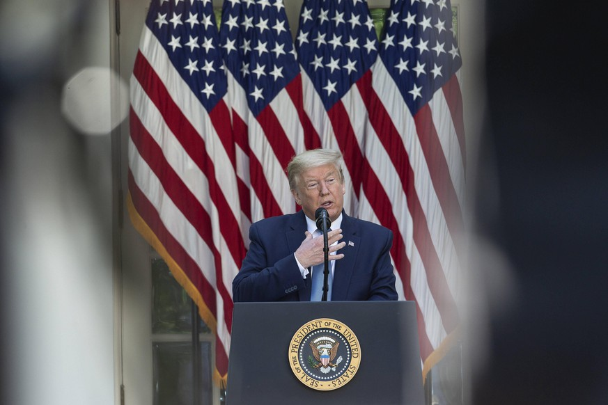 President Donald Trump delivers remarks during a Presidential Recognition Ceremony on Hard Work, Heroism, and Hope in the Rose Garden of the White House in Washington D.C., U.S. on Friday, May 15, 2020. PUBLICATIONxINxGERxSUIxAUTxHUNxONLY WAX20200515427 STEFANIExREYNOLDS