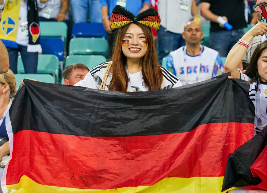 Germany - Sweden, Soccer, Sochi, June 23, 2018 fans, supporters, spectators, club flags, celebration. GERMANY - SWEDEN 2-1 FIFA World Cup WM Weltmeisterschaft Fussball 2018 RUSSIA, Group F, Season 2018/2019, June 23, 2018 Fisht Olympic Stadium in Sotchi, Russia. Photo: MAGICS / Peter Schatz