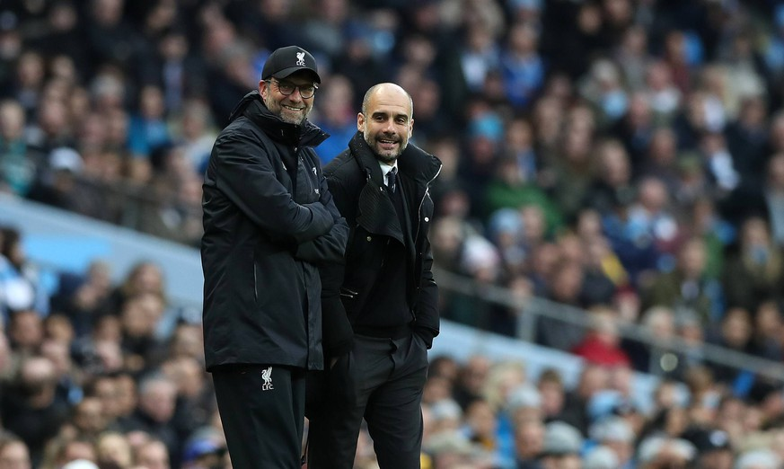 Manchester City Manager Pep Guardiola and Jurgen Klopp manager of Liverpool during the English Premier League match at The Etihad Stadium, Manchester . Picture date: March 19th 2017. Pic credit should read: Lynne Cameron/Sportimage PUBLICATIONxNOTxINxUK