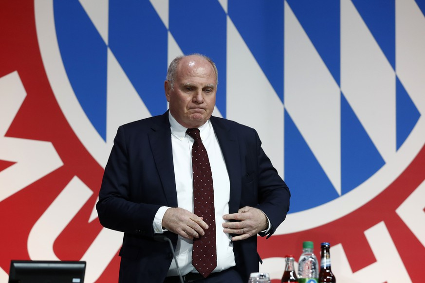 President Uli Hoeness arrives for the annual general meeting of FC Bayern Munich soccer club in Munich, Germany, Friday, Nov. 30, 2018. (AP Photo/Matthias Schrader)