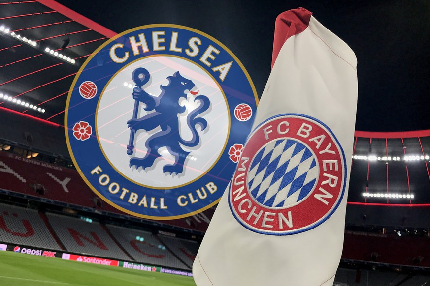 Der FC Bayern Muenchen trifft im Champions League Achtelfinale auf den FC Chelsea Archivfoot Randmotiv,Feature. Eckfahne mit FC Bayern Vereinsemblem,Vereinswappen vor leerem Stadion. Fussball 1. Bundesliga,15.Spieltag,Spieltag15, FC Bayern Muenchen M - SV Werder Bremen HB 6-1, am 14.12..2019 in Muenchen A L L I A N Z A R E N A, DFL REGULATIONS PROHIBIT ANY USE OF PHOTOGRAPHS AS IMAGE SEQUENCES AND/OR QUASI-VIDEO.  *** FC Bayern Muenchen will meet FC Chelsea Archivfoot Randmotiv in the Champions League Round of 16, feature corner flag with FC Bayern club emblem, club coat of arms in front of empty stadium soccer 1 Bundesliga,15 Matchday,Matchday15, FC Bayern Muenchen M SV Werder Bremen HB 6 1, on 14 12 2019 in Muenchen A L L I A N Z A R E N A, DFL REGULATIONS PROHIBIT ANY USE OF PHOTOGRAPHS AS IMAGE SEQUENCES AND OR QUASI VIDEO