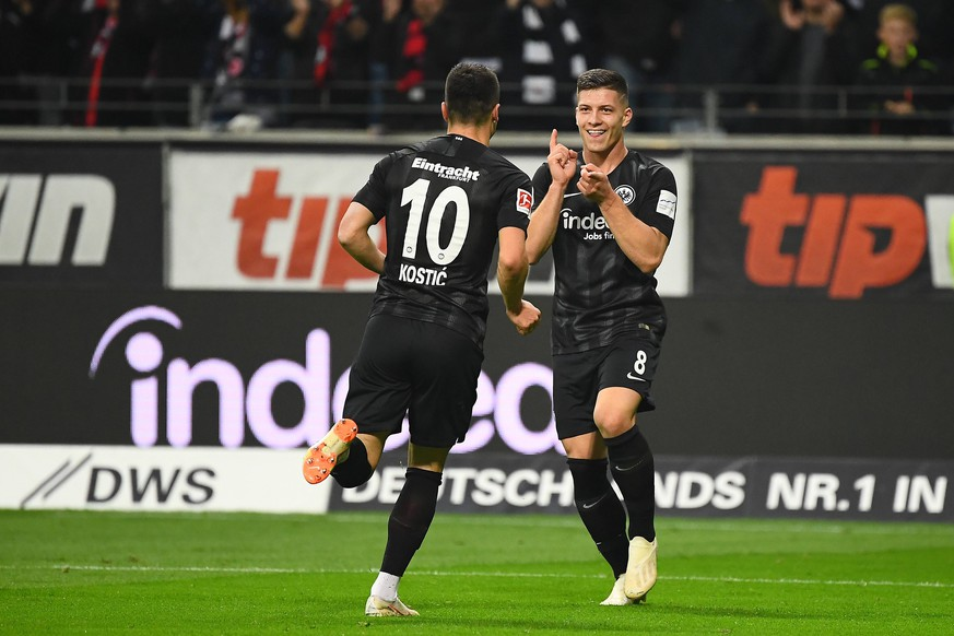 (181020) -- FRANKFURT, Oct. 20, 2018 -- Luka Jovic (R) of Frankfurt celebrates scoring during the Bundesliga match between Eintracht Frankfurt and Fortuna Duesseldorf at Commerzbank-Arena in Frankfurt am Main, Germany, on Oct. 19, 2018. Frankfurt won 7-1. ) (SP)GERMANY-FRANKFURT-SOCCER-BUNDESLIGA-FRANKFURT VS FORTUNA DUSSELDORF UlrichxHufnagel PUBLICATIONxNOTxINxCHN
