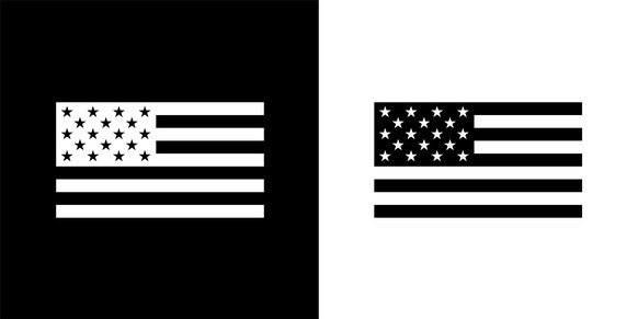 USA Flag.This royalty free vector illustration features the main icon on both white and black backgrounds. The image is black and white and had the background rendered with the main icon. The illustration is simple yet very conceptual.