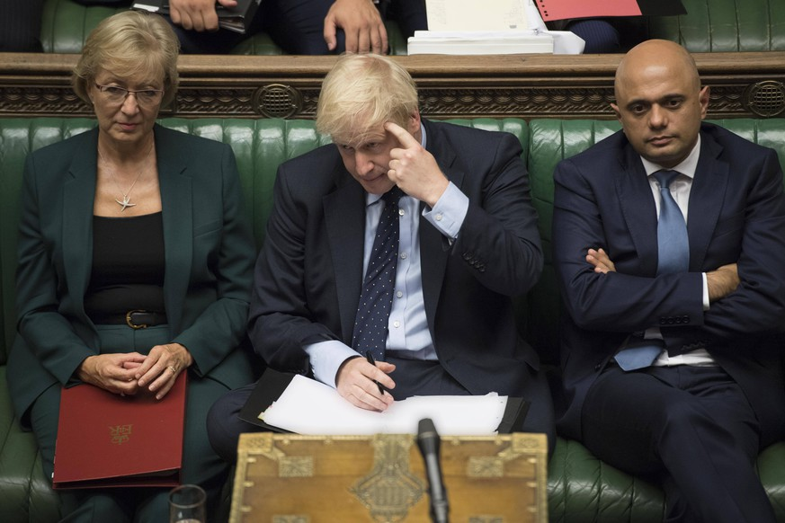 (190903) -- LONDON, Sept. 3, 2019 (Xinhua) -- British Prime Minister Boris Johnson (Front) gestures in the House of Commons in London, Britain, on Sept. 3, 2019. British Prime Minister Boris Johnson on Tuesday lost a key Brexit vote in the House of Commons as anti-no deal MPs take control of the parliamentary business. (Jessica Taylor/UK Parliament/Handout via Xinhua) HOC MANDATORY CREDIT: UK Parliament/Jessica Taylor BRITAIN-LONDON-PARLIAMENT-BREXIT VOTE PUBLICATIONxNOTxINxCHN