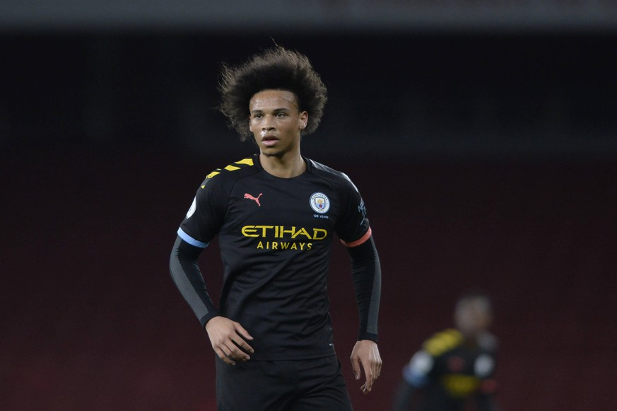 Leroy Sane Manchester City under-23 in action during the Premier League 2 Division One match between Arsenal and Manchester City under-23 at the Emirates Stadium in London, UK - 28th February 2020  AFS/Espa-Images Arsenal and Manchester City under-23 - Premier League 2 Division One PUBLICATIONxINxGERxSUIxAUTxONLY - ZUMAcs12 20200228zafcs12042 Copyright: xESPAxPhotoxAgencyx