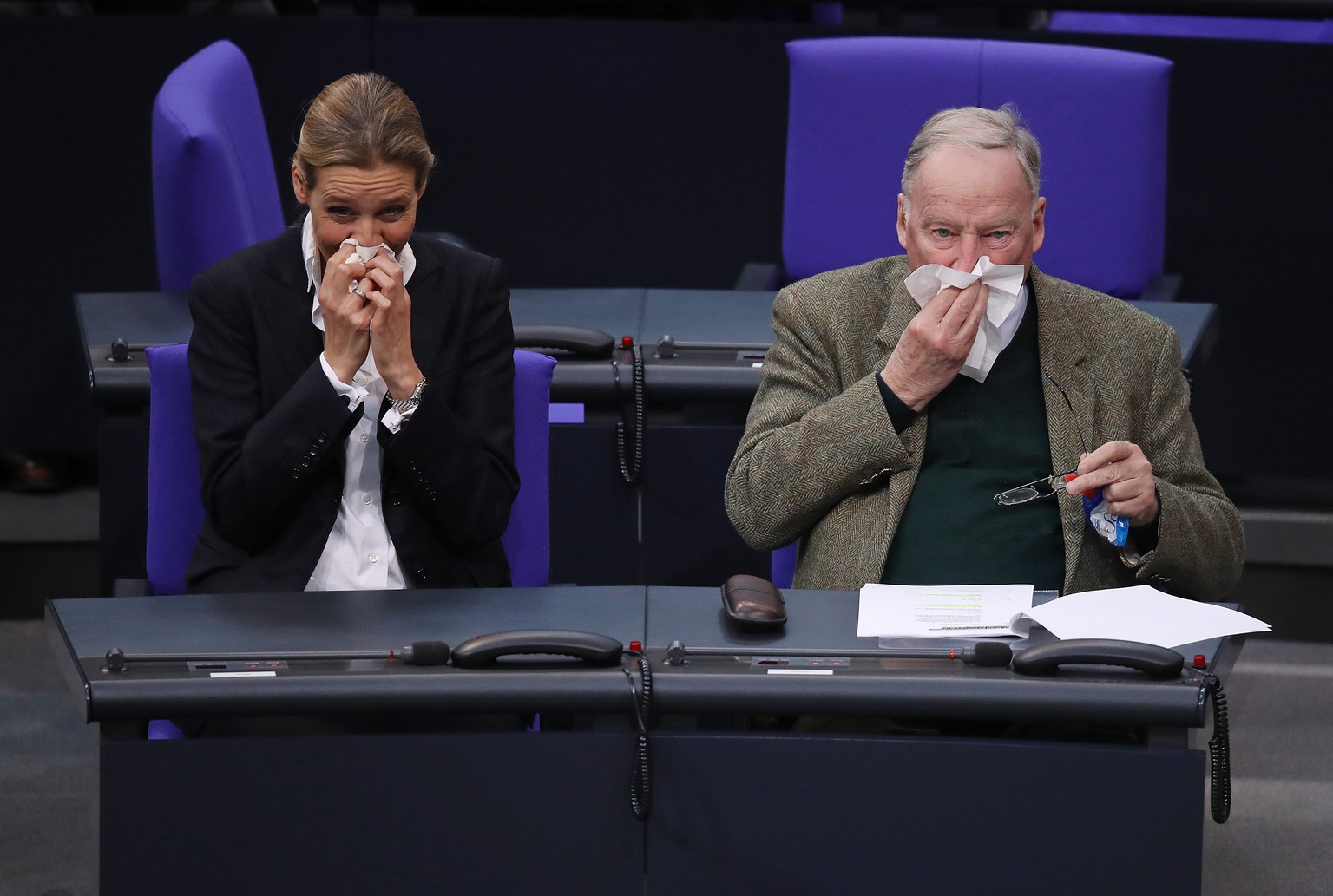 BERLIN, GERMANY - MARCH 14:  Alice Weidel and Alexander Gauland, Bundestag faction leaders of the right-wing Alternative for Germany (AfD) political party, blow their noses shortly before German Chancellor Angela Merkel took her oath to serve her fourth term as chancellor following Merkel's election by the Bundestag on March 14, 2018 in Berlin, Germany. Members of the new German government, a coalition between Christian Democrats (CDU/CSU) and Social Democrats (SPD), were sworn in today and will begin work immediately. The new government took the longest to create of any government in modern German history following elections last September that left the German Christian Democrats (CDU) as the strongest party but with too few votes in order to have a strong hand in determining the next coalition.  (Photo by Sean Gallup/Getty Images)