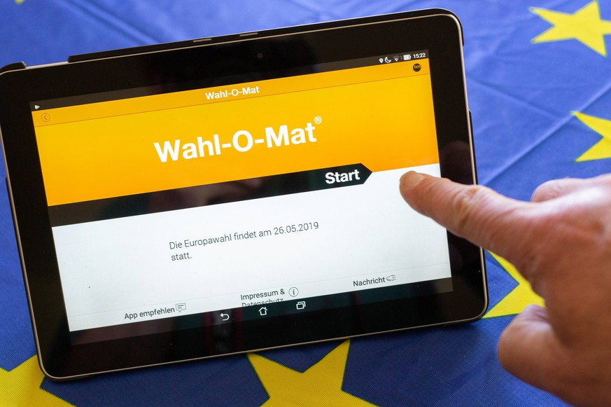 Wahl-O-Mat fuer die Europawahl in Deutschland am 26.05.2019. Wahlomat *** Election of O Mat for the European elections in Germany on 26 05 2019 Wahlomat