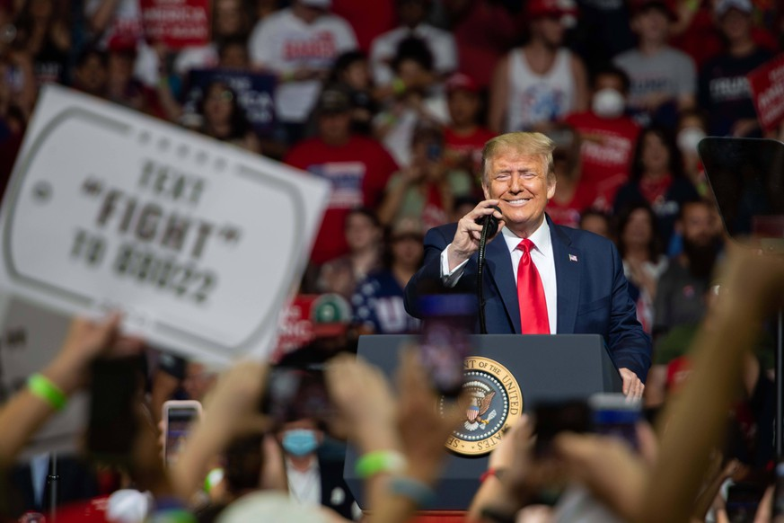 June 20, 2020, Tulsa, Oklahoma, USA: President Donald Trump speaks to a far less than capacity crowd in Tulsa Oklahoma on Saturday June 20th 2020 Tulsa USA - ZUMAt221 20200620zapt221115 Copyright: xTylerxTomasellox