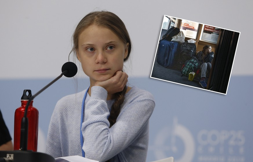 Greta Thunberg during the press conference in Mocha hall during the seventh day of COP25 Chile-Madrid in Madrid, Spain on Dec 09, 2019. PUBLICATIONxINxGERxSUIxAUTxPOLxDENxNORxSWExONLY 20191209166