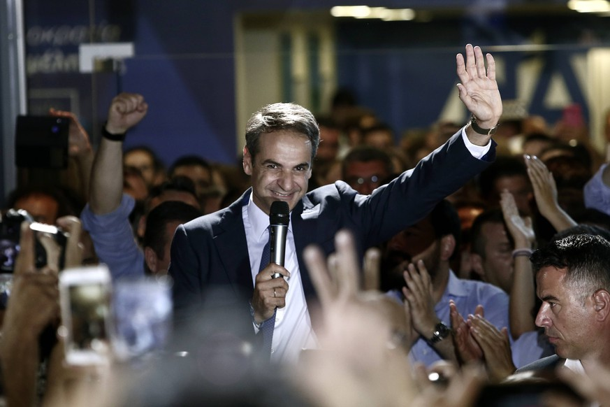 July 7, 2019 - Athens, Greece - New Democracy conservative party leader Kyriakos Mitsotakis speaks to supporters at the party s headquarters, after his win at the general election in Athens, Greece, on July 7, 2019 Athens Greece PUBLICATIONxINxGERxSUIxAUTxONLY - ZUMAn230 20190707_zaa_n230_508 Copyright: xPanayotisxTzamarosx