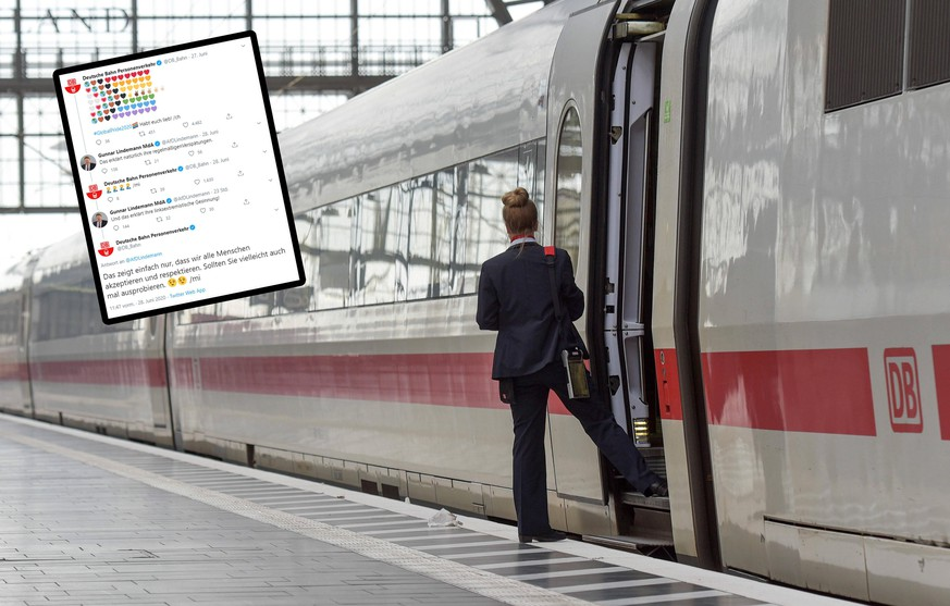 xblx, ICE Zug der Deutschen Bahn im Hauptbahnhof Frankfurt, Zugbegleiterin klar zur Abfahrt, emwirt Frankfurt am Main *** xblx, ICE train of the Deutsche Bahn in Frankfurt central station, train attendant ready for departure, emwirt Frankfurt am Main