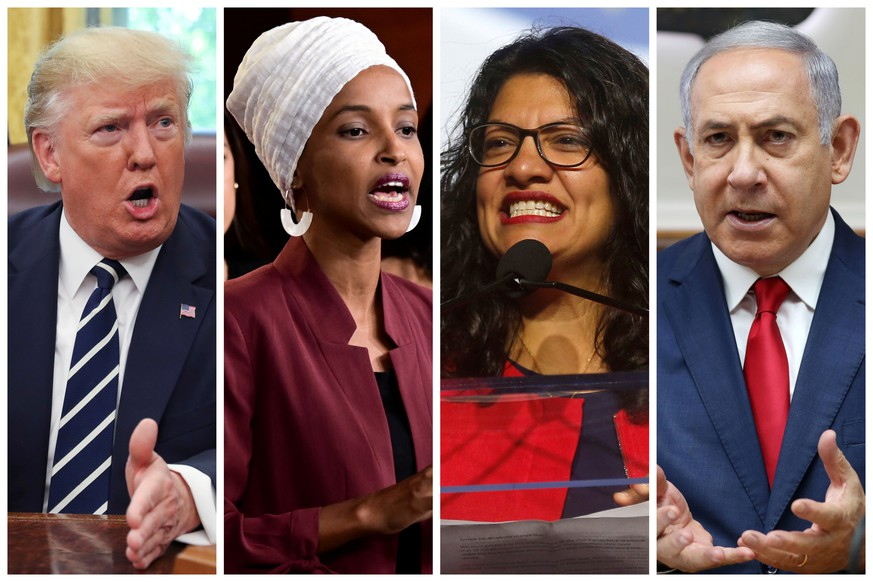 U.S. President Donald Trump, U.S. Congresswomen Ilhan Omar, Rashida Tlaib, and Prime Minister Benjamin Netanyahu are seen in a combination from file photos.  REUTERS/File Photos
