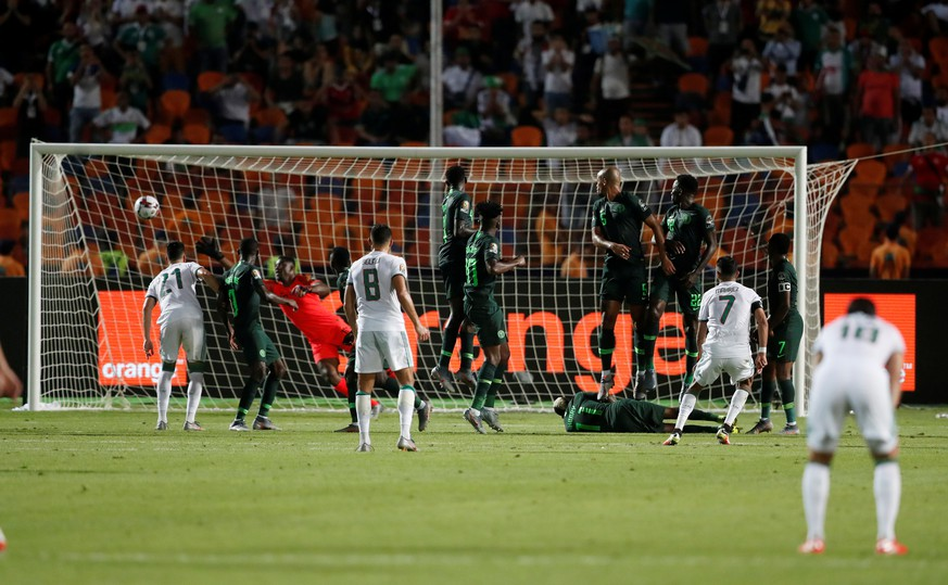 Soccer Football - Africa Cup of Nations 2019 - Semi Final - Algeria v Nigeria - Cairo International Stadium, Cairo, Egypt - July 14, 2019  Algeria's Riyad Mahrez scores their second goal from a free kick   REUTERS/Amr Abdallah Dalsh
