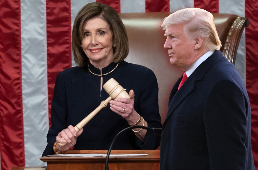 Speaker of the United States House of Representatives Nancy Pelosi Democrat of California presides over Resolution 755, Articles of Impeachment Against US President Donald J. Trump as the House votes at the US Capitol in Washington, DC, on December 18, 2019. PUBLICATIONxINxGERxSUIxAUTxONLY Copyright: xSaulxLoebx