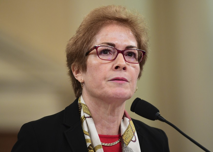 Marie Yovanovitch, former U.S. Ambassador to Ukraine, testifies before the House Permanent Select Committee on Intelligence as part of the impeachment inquiry into President Donald Trump, on Capitol Hill in Washington, DC, on Friday, November 15, 2019.  The hearings are looking.into whether Trump used military aid as leverage to pressure Ukraine into investigations that would benefit him politically.    Photo by Kevin Dietsch/UPI Photo via Newscom picture alliance |