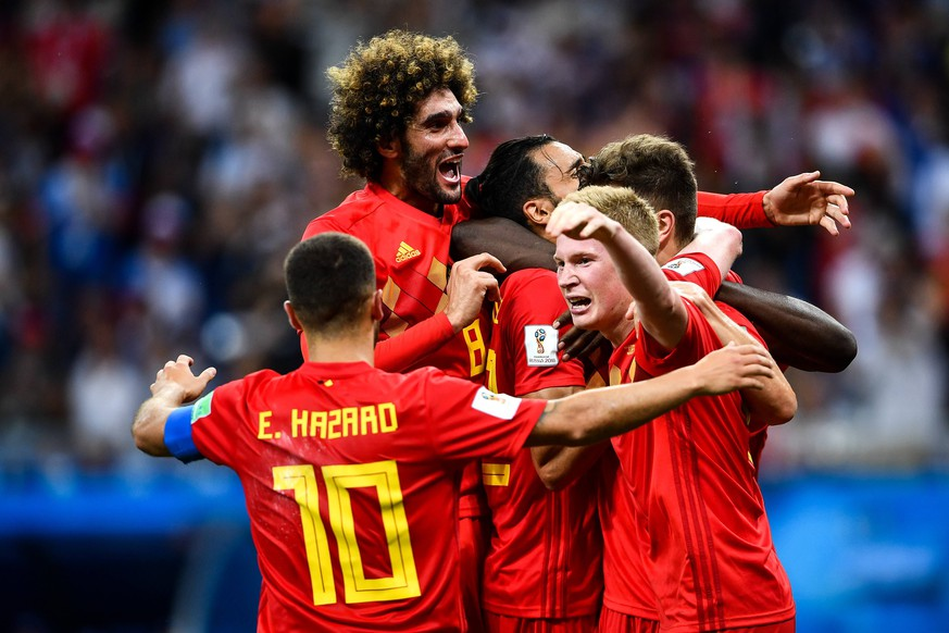 Nacer Chadli of Belgium, center, celebrates with his teammates after scoring a goal against Japan in their Round of 16 match during the 2018 FIFA World Cup WM Weltmeisterschaft Fussball in Rostov, Russia, 2 July 2018. Belgium threw caution to the wind to reach the World Cup quarter-finals as substitute Nacer Chadli scored in the dying seconds against Japan to snatch a 3-2 comeback win and set up a clash with five-time champions Brazil. The distraught Japanese, who went 2-0 up with goals by Genki Haraguchi and Takashi Inui early in the second half, fell to the turf after Chadli poked the ball home from Thomas Meunier s cross four minutes into added time at the Rostov Arena. Belgium downs Japan with Nacer Chadli s injury time goal capping historic comeback PUBLICATIONxINxGERxAUTxSUIxONLY 20180703_67362