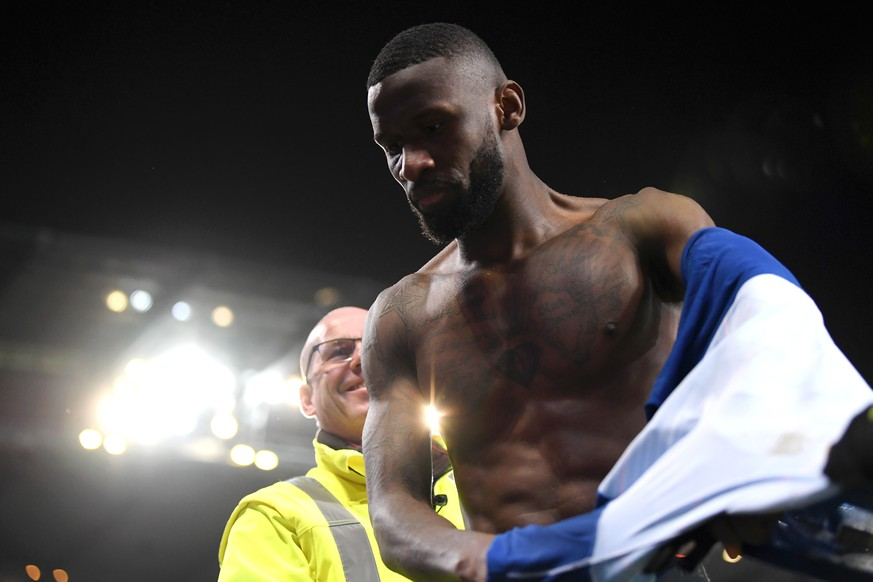 MANCHESTER, ENGLAND - FEBRUARY 10:  Antonio Ruediger of Chelsea takes his shirt off after the Premier League match between Manchester City and Chelsea FC at Etihad Stadium on February 10, 2019 in Manchester, United Kingdom.  (Photo by Darren Walsh/Chelsea FC via Getty Images)